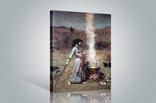 1art1 John William Waterhouse - Der Magische Kreis, 1886 Bilder Leinwand-Bild Auf Keilrahmen   XXL-Wandbild Poster Kunstdruck Als Leinwandbild 120 x 80 cm