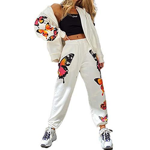 I3CKIZCE 2PCS Damen Trainingsanzug Set Loungewear Long Sleeve Butterfly Print Sweatshirt Hoodies mit Reißverschluss Hosen Damen Übergröße Jogging Sportanzug oben und unten Sportbekleidung(Weiß,S