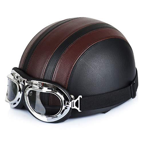 OLEEKA Motorradhelm Vintage Halbhelme Fahrrad Fahrradhelm Biker Cruiser Roller Touring Moped Helm Retro Helm