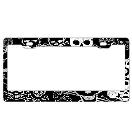 Promini Abstract Black White Crossbones and Skulls License Plate Frame Car License Plate Covers Auto Tag Holder 6' x 12'