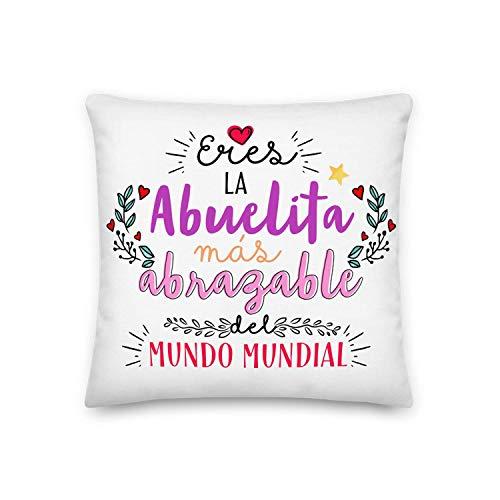 GS1 Honduras Kembilove Cojín para Abuela – Regalos Cojines Mujer Cumpleaños Originales – Regalos Originales Cojines con Frase Eres la Abuelita mas abrazable para Regalar el día de la Madre