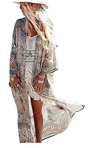 Belloxis Strandkleid Damen Sommer Kimono Strandkleider Cardigan Strandtunika Kaftan Boho Kleid Lang