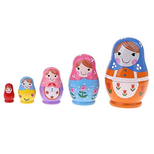 D DOLITY 5-teilig Mädchen Figur Matrjoschka, Matroschka, Matruschka, Russische Nesting Doll Spielzeug - Mehrfarbig