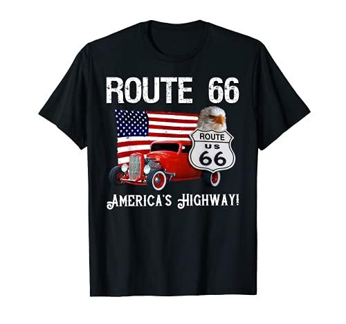 Ruta de viaje por carretera americana 66 - Bandera & Vintage Hot Rod Camiseta