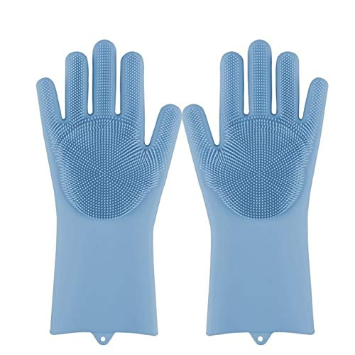 Esponja mágica de Silicona para Lavar Platos, Esponja para Lavar Platos, Guantes de Goma para Fregar, Limpieza de Cocina, 1 par-Blue