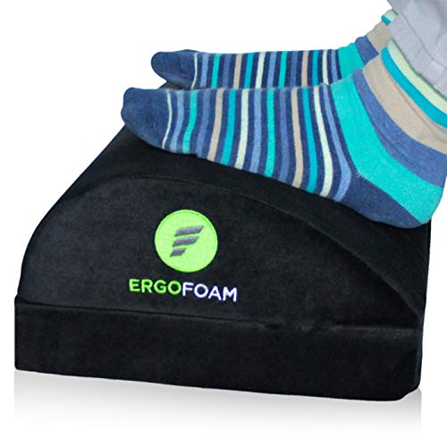 ErgoFoam Adjustable Desk Foot Rest for Added Height | Orthopedic Teardrop Design | Large Premium Under Desk Footrest | Most Comfortable Foot Rest Under Desk for Lumbar, Back, Knee Pain (Black)