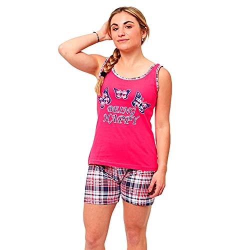 FLASHPIJAMAS Elba Pijama Mujer Estampado Pijama Dos Piezas Pijama Camiseta Tirantes y pantalón Corto Pijama algodón de Verano.
