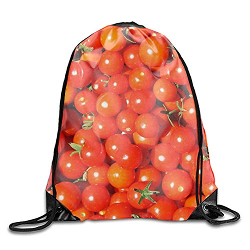 ZHIZIQIU 3D Print Funny Red Cherry Tomato Shoulders Bag Women Fashion Backpack Red Cherry Tomato Drawstring Travel Shoes Dust Storage Bags