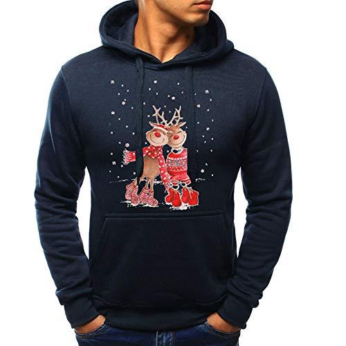 OverDose Damen Pullover Bluse Herren Langarm Weihnachten Partei Bar Cosplay Schlank Charming Casual Sweatshirt Hoodies Trainingsanzüge Für Herbst Winter(Marine1,50 DE/XXL CN)