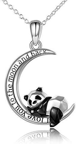 Panda Necklace Sterling Silver Origami I love You to The Moon And Back Pendant Necklace for product image