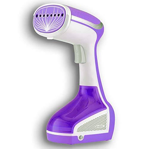 SILVANO Plancha Vertical Cepillo de Vapor 1000 W. Elimina Arrugas y olores y desinfecta. Ideal para Viajar. Depósito de Agua extraíble y gatillo de pulsador Suave. (Blanca&Morada)