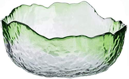 Gedroogde fruitpot Creatieve onregelmatige glazen voedselcontainer Salade Fruit Gedroogde fruitschaal (groen, maat: medium)