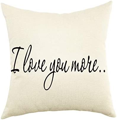 Ogiselestyle I Love You More Throw Pillow Cover Cotton Linen Home Decorative Throw Pillow Case product image