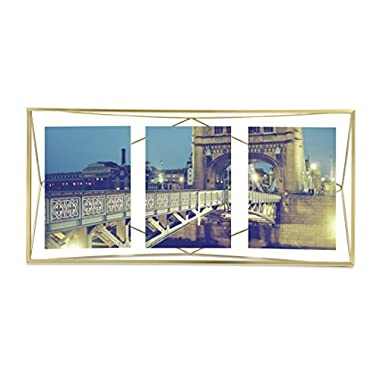 Umbra Prisma Multi Photo Picture Frame – Floating Wall or Desk Photo Display for Pictures, Art, Illustrations, Graphic Text & More, Metal, Matte Brass