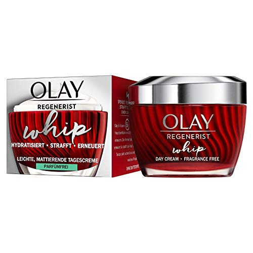 Olay Regenerist Whip Tagescreme Parfümfrei, Für Straffere Haut, Mit Einzigartiger Textur, Ohne Zu Beschweren, Mit Amino-Peptiden Und VitaminB3, 50ml