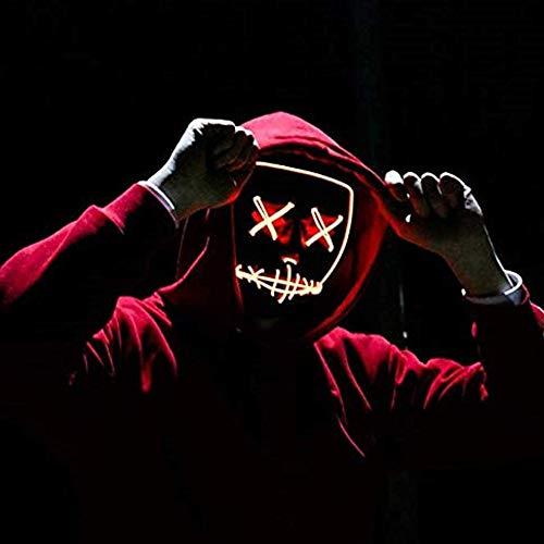 Light Up De Halloween Máscara De La Máscara LED EL Cable Máscara De Miedo para...