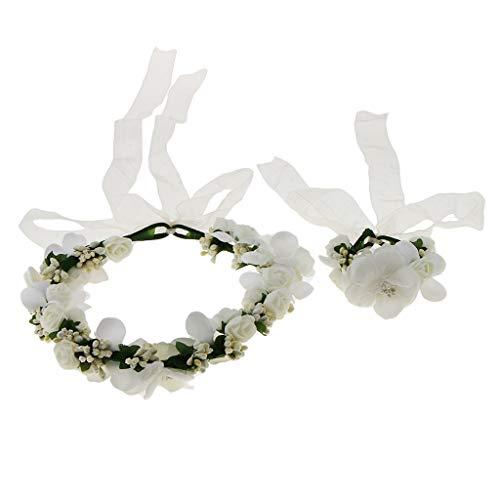 yotijar Juego de guirnaldas de muñeca con guirnalda floral para regalo de mujer – Beige, talla única