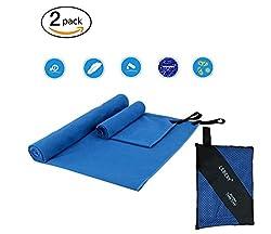 LEBEXY Microfiber beach towel XXL | Outdoor towel Quick drying | Travel towel microfiber bath towel | Microfiber Towel Set Blue
