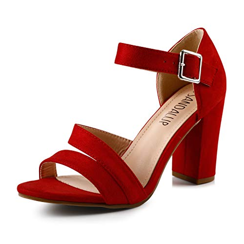Sandalup Women's Chunky Block High Heel Sandals with Open Toe Ankle Strap for Dress Wedding Party Red 09