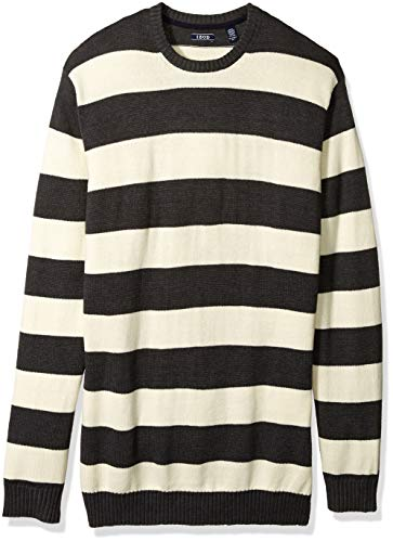 IZOD Men's Big Newport Stripe 7 Gauge Crewneck Sweater, Rugby Asphalt, 2X-Large Tall
