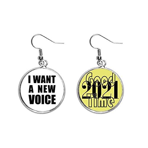 I Want A New Voice Art Deco Geschenk Mode Ohrringe Ohranhänger Schmuck 2021 Viel Glück