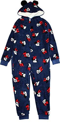 Disney Minnie Mouse Erwachsene Damen Kapuze Schlafanzug Alles in einem Marine Groß