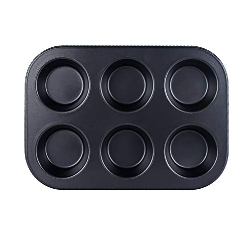 6 Cup Muffin & Cupcake Pan , Nonstick Brownie Pan, Heavy Duty Carbon Steel Bake for Oven Baking -Gray