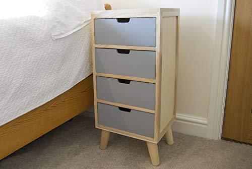 Mesita de noche con 4 cajones, madera maciza, color gris, para muebles modernos, patas cónicas...