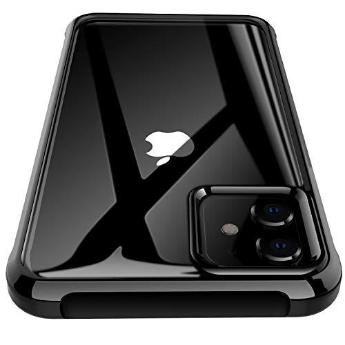 J Jecent Cover iPhone 11, Custodia AntiGraffio Antiscivolo Antiurto con Morbido Telaio Rinforzato in TPU + Pannello Posteriore del PC Rigido, Case Protezione per iPhone 11 (2019) 6.1 Pollici - Nero