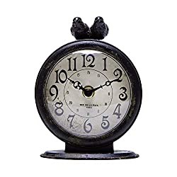 NIKKY HOME Antique Black Table Clock, Battery Operated Rustic Design, Classic Analog Desk Clock for Living Room Decor Shelf - Shabby Chic Home Décor for Desktop, Countertop