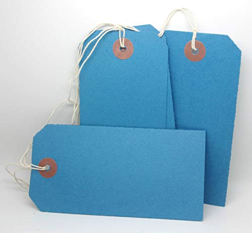 200 BLUE COLOURED LABEL TAGS LUGGAGE CARD 240GSM 120 X 60MM