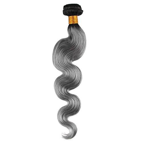 Beuaty7 Extension de Cheveux 100g Tissage Naturels Bresilien Noir Naturels au Grey #1B/gris Ombre Cheveux Humains Ondule 16 Inch