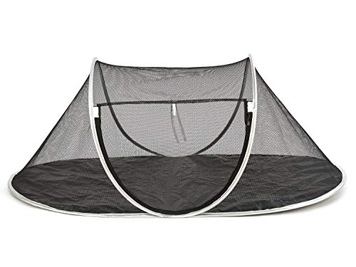 Fooubaby Cat Tent Pop Up Cat House Outside Pet Enclosure Tent Indoor Playpen Portable for Cats Small Dogs in Deck, Yard, Patio, Park, Camping, Travel Outdoor in Summer (Black Net and Silver Edge)