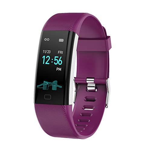 CAOQAO- Reloj Mujer Hombre Unisex Fitness Monitor de Actividad Delgado Ritmo cardíaco presión Arterial Control de oxígeno Reloj Inteligente (Free Size, púrpura)