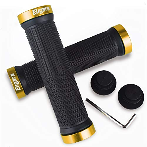 Eligara Bike Handlebar Grips, Non-Slip-Rubber Bicycle Handle Grip Aluminum Lock, Bike Grip Scooter Cruiser Tricycle Wheel Chair Mountain Road Urban Foldable Bike MTB BMX (Gold)