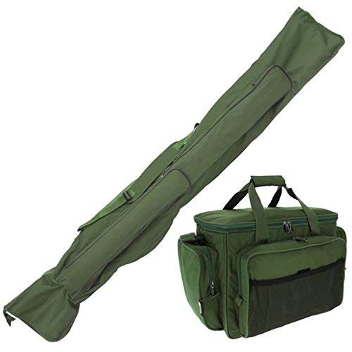 NGT Carp Fishing Set Green Insulated Carryall 3+3 Made Up Rod & Reels Holdall