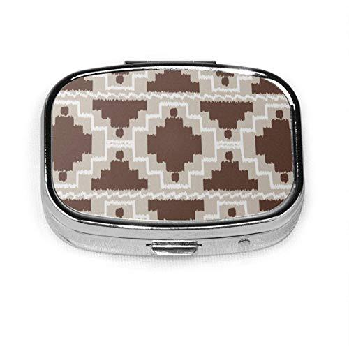 Ikat Azteca Tribal Marrón Chocolate y Gris Topo Personalizado Moda Cuadrado Pastillero Medicina Tablet Titular Cartera Organizador Cartera para Bolsillo o Monedero