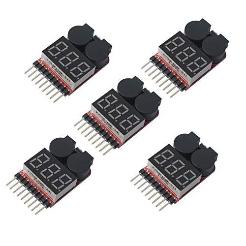 Poweka Lipo Alarm Checker 1-8s mit Niederspannungs Alarm Buzzer | Echtzeit-LED-Anzeige | Spannungserkennung für Lithiumbatterien