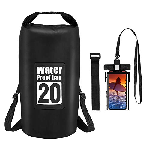 Waterproof Dry Bag - Floating Dry Sack 10L/20L Roll Top Dry Backpack with Waterproof Phone Case for Water Sports - Kayaking, Rafting, Boating, Swimming, Camping, Hiking, Beach, Fishing, Travel