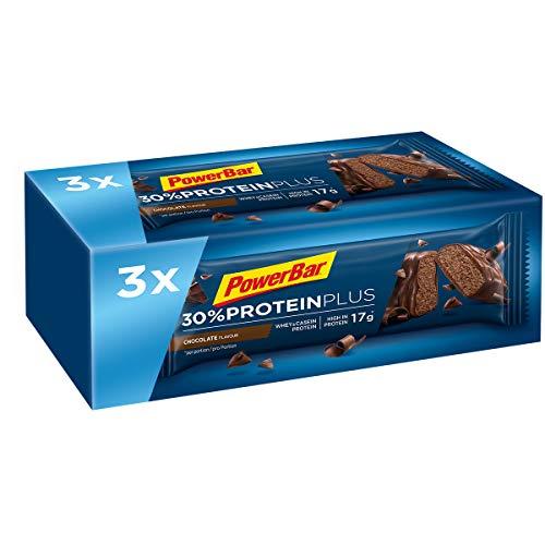 PowerBar Protein Riegel mit Casein, Whey und Sojaprotein – Eiweiß-Riegel, Fitness-Riegel reich an Ballaststoffen – Chocolate (3 x 55g)