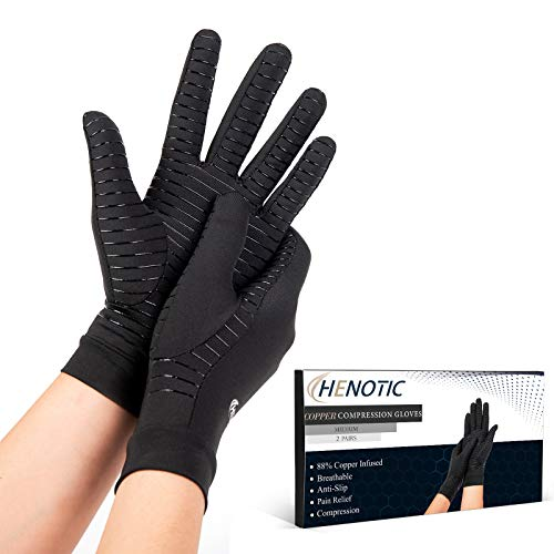 2 Pairs Copper Compression Gloves for Women Men, Full Finger Breathable & Moisture Wicking Arthritis Compression Gloves for Relieving Carpal Tunnel Aches, Rheumatoid Pains, Joint Swell