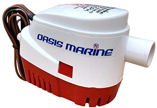 Oasis Marine - Automatic Boat Bilge Water Pump 12v 1100 GPH 1 1/8 inch Outlet with Built in Float Switch