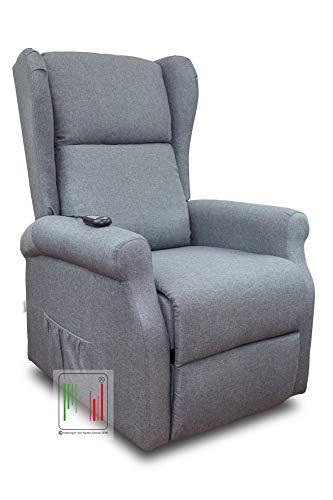 Stil Sedie - Poltrona Relax reclinabile elettrica alzapersona Bergere in Tessuto MOD Giada (Grigio)