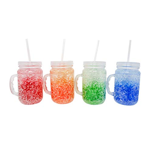 Mason Freezer Frosty Beer Mugs With Straw by Trademark Innovations (Set of 4)