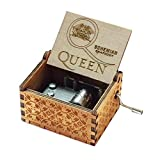 Evelure Caja de música de Madera de Queen, Cajas de música de Madera talladas a Mano y creativos tallados a Mano Los Mejores Regalos (E-Wood)