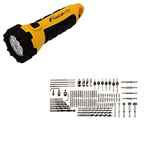 Toucan City LED Flashlight and BORA Steel Screwdriver Drill Bit Set (96-Piece) PM-1250