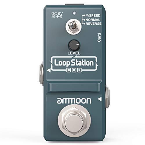 ammoon Pedal Efecto Guitarra Eléctrica Nano Loop True Bypass Looper Ilimitadas 10 Minutos de Grabación con Cable USB,Gris