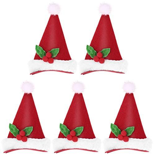 LUOEM 5 Stücke Haarclips LED Weihnachtsmütze Weihnachten Haarschmuck(Tricorne)