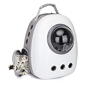 Portable Travel Pet Carrier Bubble Backpack for Dog and Cat Dome Airline Approved Space Capsule Waterproof Knapsack Outdoor Breathable Pet Bag (White-Gray)