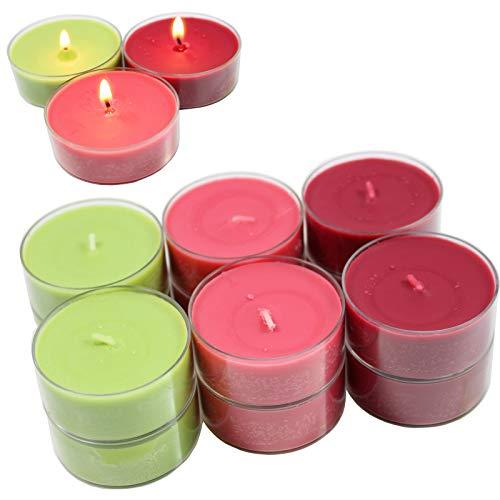 Smart-Planet® Kerzen Ambiente - 12 Stück Jumbo Duftteelichter Teelichte Set Waldbeer Duft fruchtig - transparente Hülle - 8 Stunden Lange Brenndauer